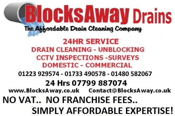 Emergency blocked drain services for Huntingdon, Cambridge, Peterborough