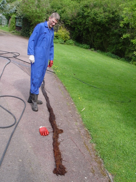 root extracted from blocked drain in Dry Drayton, Cambridge